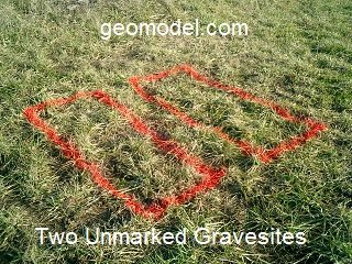 locations of unmarked graves detected by ground penetrating radar by GeoModel, Inc.