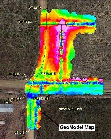 GeoModel MapOrig with a terrain conductivity survey, electromagnetic conductivity survey, and EM survey