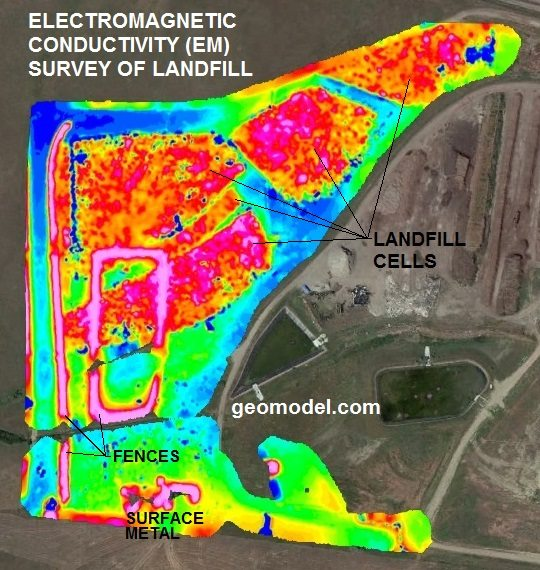 landfill detection, landfill cell location, plume delineation, landfill plume