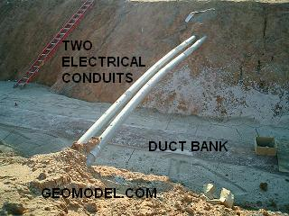 Two Electrical Conduits and a Duct Bank
