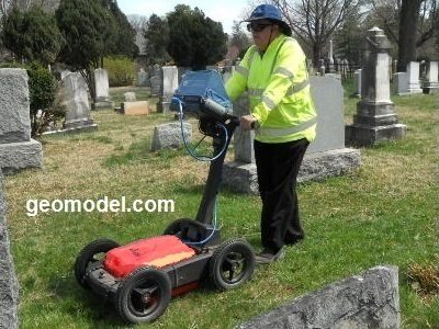 GeoModel uses the plastic GPR cart for locating unmarked graves for cemetery surveys